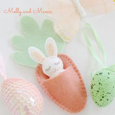 FELT BUNNY PDF Pattern - 'Bitty Bunnies' Easter rabbit pattern; mini bunny with felt carrot sleeping bag, necklace, embroidery, sewing
