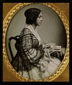 A lovely young unidentified African American woman, profile view. Daguerreotype…
