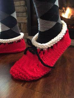 Ravelry: Santa's Hearthside Slippers pattern by Kris Basta - Kriskrafter, LLC Lace Knitting, Knitting Socks, Knitting Patterns Free, Crochet Patterns, Knit Socks, Free Pattern, Knitted Booties, Knitted Slippers, Knitted Bags