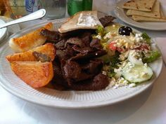 Greek Meze platter for two at a local restaurant in central Athens ...