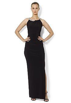 Lauren Ralph Lauren Beaded Jersey Gown