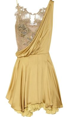 Julien Macdonald Silk-Satin and Lace Dress