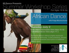 African Dance Workshop at Innovative Rhythm Dance Studios. This workshop will be incredible! Dance Workshop, African Dance, Dance Studio, Studios, Dancer, The Incredibles, Community, Age, Summer