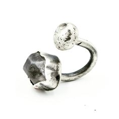 Hand fabricated Sterling silver in-betwen-the-fingers ring, set with Herkimer Diamond