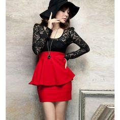 Lace Splicing Long Sleeve Red Peplum Dress. Really cute!