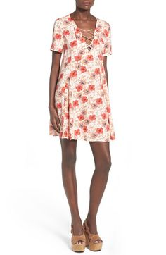 ASTR Lace-Up Shift Dress