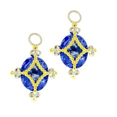 Wrapped Stone Kite Charm in Blue with Yellow Gold
