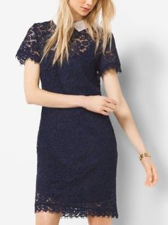 Delicate floral lace and a crisp pointed collar bestow a refined femininity to this short-sleeved dress. Tailored in a simple silhouette with a scalloped hem, it pairs perfectly with polished loafers or evening-ready pumps.