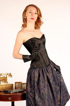 Exclusive satin overbust authentic corset with by Corsettery
