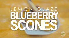 Air Fryer Lemon Glaze Blueberry Scones