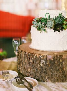 Top your wedding cake with simple succulents.
