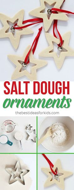 These Salt Dough Ornaments are so easy to make! These would make perfect Christmas gifts and are easy for kids to do too! The salt dough recipe is really easy too. Perfect kid-made Christmas gift idea. Salt dough decorations that will look great on your Christmas tree!  via @bestideaskids