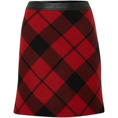 Oui Check plaid wool mini skirt ($100) ❤ liked on Polyvore featuring skirts, mini skirts, clearance, red, a line skirt, plaid skirt, red skirt, a line mini skirt and short red skirt
