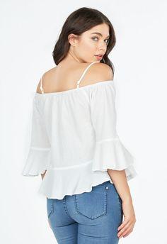 Cold Shoulder Crinkle Top Kleidung in Weiß - günstig kaufen bei JustFab