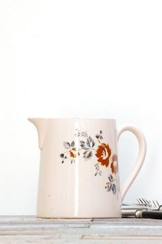 French vintage pink pitcher Digoin by Frenchvintagecharm on Etsy, €50.00