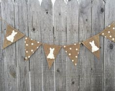 Easter banner bunny and carrot banner Easter bunting burlap | Etsy