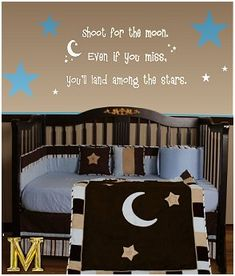 star crib bedding   ... stars nursery murals - celestial baby nursery - moon and stars nursery
