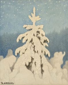"la-belle-epoche: "" Theodor Kittelsen (Norwegian, Juletre (Christmas Tree), n. Pencil, pastel and aquarelle on paper, cm Private collection "" I Love Winter, Winter Wonder, Winter Art, Winter Illustration, Christmas Illustration, Illustration Art, Christmas Tree Art, Christmas Scenes, Theodore Kittelsen"