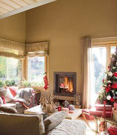 Christmas tree, fireplace