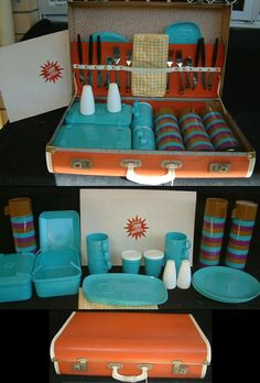 Vintage Sunjoy Retro Picnic Set Complete - made sometime in the early 1970's - in it's original case!! The set is in excellent condition!! Very retro - and back in fashion today