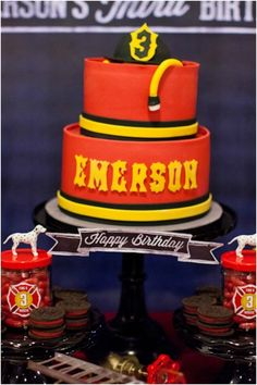 Fireman Birthday Cake Ideas, except with a Phone that says E911 instead of a hat?