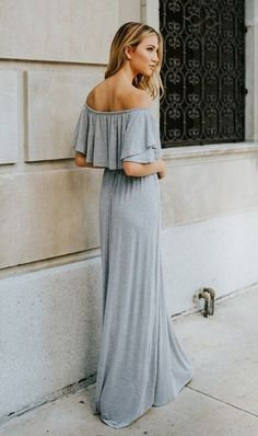 *THIS IS A PRE-ORDER ITEM! ITEM WILL ARRIVE ON JULY 20* We are so crazy about this gorgeous maxi dress! Our Me Too gray maxi dress features a subtly sexy off the shoulder top with maxi skirt bottom. S