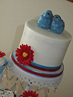 love birds vintage wedding cake - Ledbetter Wedding- Simple RedVelvet Cake and cupcakes with Buttercream frosting and fondant decorations. Hand Painted Love Birds.