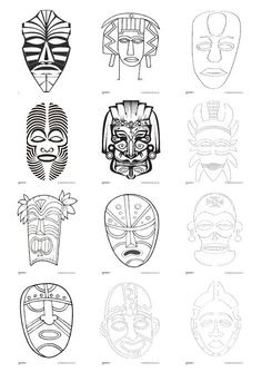 One line art by shatha Al Dafai - African Art Projects, African Art For Kids, Afrique Art, Art Worksheets, Ecole Art, Masks Art, School Art Projects, Thinking Day, African Masks
