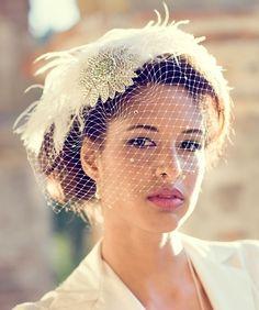 Birdcage Veil, Feather Fascinator, Bridal Hair Accessory, Head Piece, Wedding Veil, Swarovski Crystal, Flower, Blusher Veil, Ivory White by Batcakes Couture | Batcakes Couture