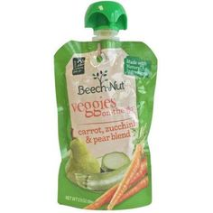 Beech-Nut Veggies on-the-Go Carrot, Zucchini & Pear Blend Baby Food, 3.5 oz, (Pack of 12)