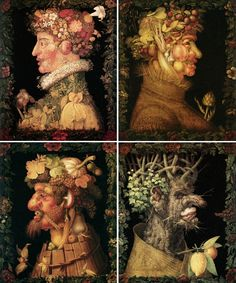 FOUR SEASONS - GIUSEPPE ARCIMBOLDO, 1573. THE GARLANDS SEEN IN THESE WORKS WERE ADDED AT A LATER DATE.