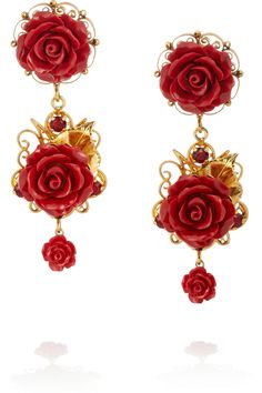 Dolce & Gabbana|Gold-plated, crystal and resin clip earrings|NET-A-PORTER.COM