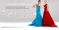 Mirte Maas & Cindy Bruna in Carolina Herrera Fall 2014 Dresses for Neiman Marcus