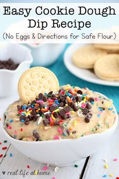 Need a dessert dip for a party or just for a fun snack for at home? You'll find an easy recipe for Cookie Dough Dip that contains no eggs. There are also directions for toasting flour. Fun Easy Recipes, Healthy Dessert Recipes, Dip Recipes, Easy Desserts, Block Party Desserts, Appetizer Recipes, Sugar Cookies From Scratch, Cookie Recipes From Scratch, Cookie Dough Dip
