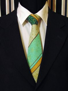 Necktie, Tie, Asian Necktie, Asian Tie, Green Necktie, Green Tie, Stripe Necktie, Stripe Tie, Cotton Necktie, Cotton Tie, Mens Necktie by EdsNeckties on Etsy