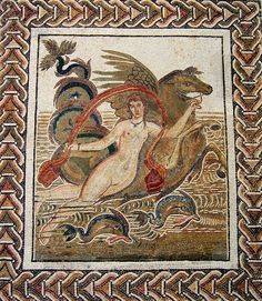 Nereid Mosaic (late 2nd or early 3rd century AD), El Jem Museum - A graceful nymph supported by a seahorse, rides the waves accompanied by two dolphins. — em El Jem Museum, Tunisia.