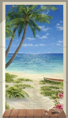 """Lynn Fecteau """"Fulfilling a Dream"""" I basically want to cover my walls in her art. Beach Mural, Beach Art, Beach Wallpaper, Tropical Art, Beach Scenes, Acrylic Art, Nature Pictures, Belle Photo, Painting Inspiration"""