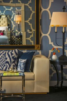 Cream and blue living room.