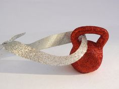 Red Glitter Kettlebell Ornament!!