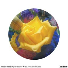 Yellow Rose Paper Plates 7""