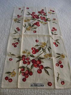 Vintage PARIS Prints CHERRY Cherries Tea Guest Kitchen Towel-NEW-UNUSED-Label On