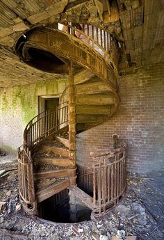 Abandoned spiral staircase this must have been beautiful at one point in time..