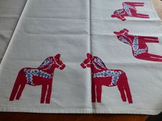 Vintage Swedish Dala horse tablecloth / Hand printed Dala horses