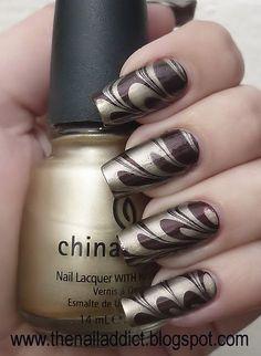Nail Art ~ Marbling. This makes me think of a Godiva chocolate...shiny!!