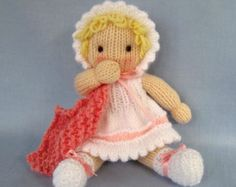Little Daisy - knitted toy baby doll - INSTANT DOWNLOAD - PDF email knitting pattern - ePattern