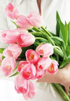 a bouquet of tulips for mylie My Flower, Fresh Flowers, Pretty In Pink, Beautiful Flowers, Beautiful Pictures, Pink Tulips, Pink Flowers, Garden Pictures, Belleza Natural