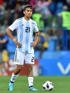 Paulo Dybala of Argentina looks on during the 2018 FIFA World Cup Russia group D match between Argentina and Croatia at Nizhniy Novgorod Stadium on June 2018 in Nizhniy Novgorod, Russia. Get premium, high resolution news photos at Getty Images Soccer Guys, Soccer Stars, Football Boys, Football Jerseys, Football Players, Juventus Italia, Real Madrid Atletico, National Football Teams, Sports Models