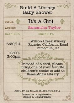 Build a Library for baby Card - Baby Shower Invitations