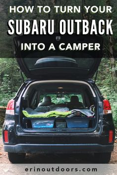 How to turn your Subaru Outback into a Camper! A few years ago, I converted my SUV to a camper by building a platform bed in my 2009 Honda CR-V. Auto Camping, Minivan Camping, Camping Guide, Camping Checklist, Camping Hacks, Camping Ideas, Tent Camping, Glamping, Camping Heater