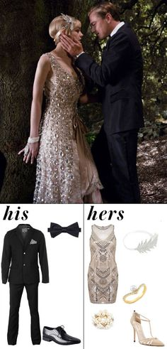 Shop The Great Gatsby-inspired Halloween costumes. Couples Halloween Costumes 2017, Couple Halloween, Halloween Dress, Halloween Inspo, College Couple Costumes, Halloween 2017, Couple Costume Ideas, Gatsby Costume, 20s Flapper